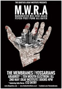The Membranes team up with the Quietus website and Yossarians, Arabrot for special Manchester gig